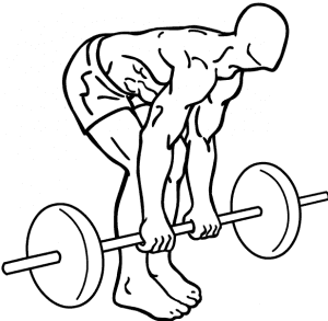 Drawing depicting a man doing a deadlift